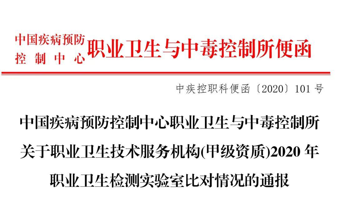 祝贺我公司在中国疾病预防控制中心与中毒控制所组织开展的2020年职业卫生检测实验室比对中获得3项全部优秀的好成绩!